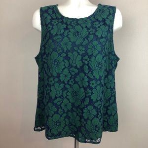 Skies Are Blue Stitch Fix Lace Green Blouse XL